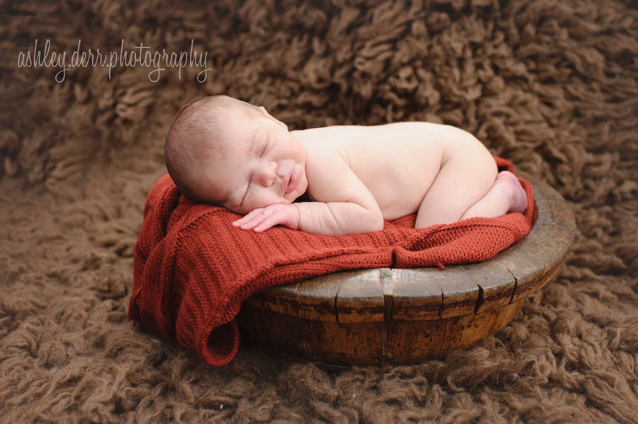 newborn baby boy in bowl