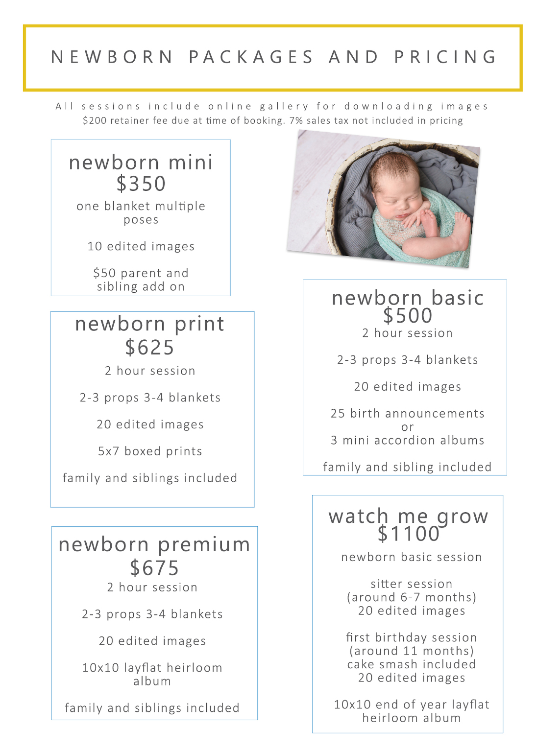 pittsburgh newborn packages and pricing 2018